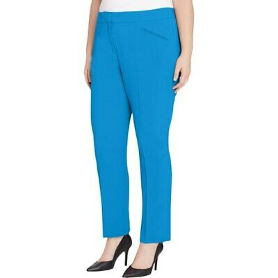 $189 Tahari Asl Women'S Blue Stretch Crepe Career Work Trouser Pants Size 22w