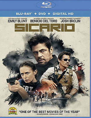 New! Sicario Blu-Ray + DVD + Digital HD - Blunt Brolin Benicio Del Toro Drug War