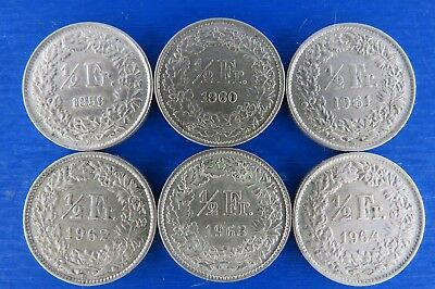 SWITZERLAND-HELVETIA-SWISS  SIX COINS  ½ franc 1959-1964 Silver