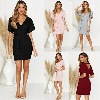 Fashion Women Sexy Bodycon V-Neck Belted Wrap Short Sleeve Casual Mini Dress New