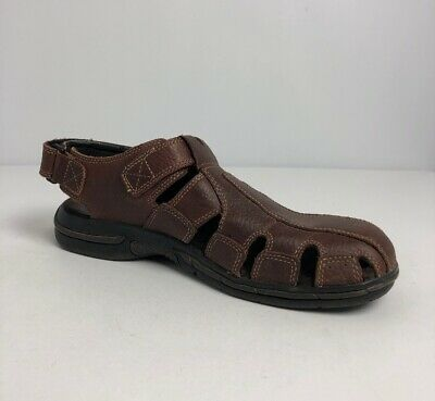 ebec8ea406b1 Earth Spirit Shoes Leather Brown Fisherman Sandals Woven Adjustable Size 11