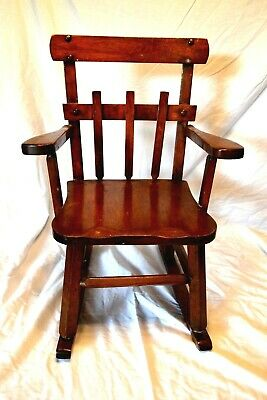 Vintage Wood Child Kid Rocking Chair Deco. Sturdy