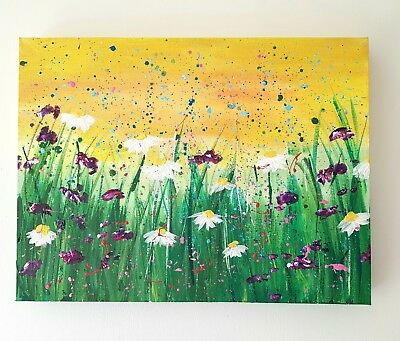 Original floral art abstract/impressionist acrylic on Canvas daisies, flowers