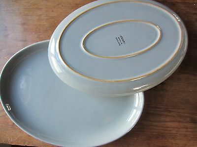 VINTAGE - DENBY - 32 cm Blue Grey Oval Steak Dinner Serving Plates x 2