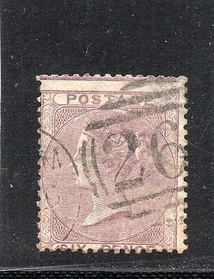 Queen Victoria used Six pence stamp. SG 70.