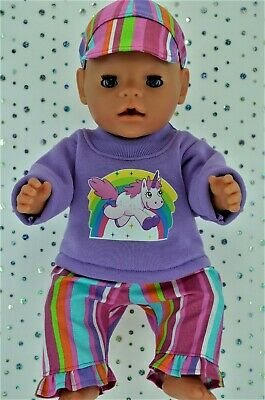 """Play n Wear Doll Clothes To Fit 17"""" Baby Born STRIPE PANTS~LILAC TOP~CAP"""