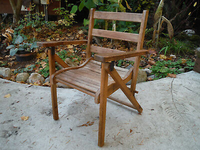 Vintage Antique Childs Wood Folding Chair Slat Seat Arts & Crafts Armchair