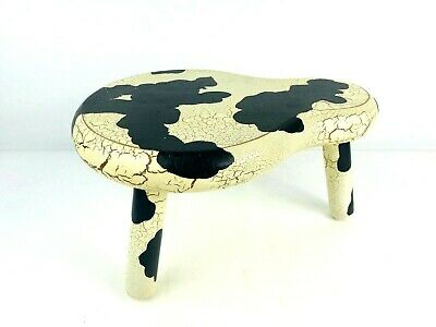 Workshops Of Gerald Henn Milking Stool Cow Paint Wood Three Leg Hand Crafted