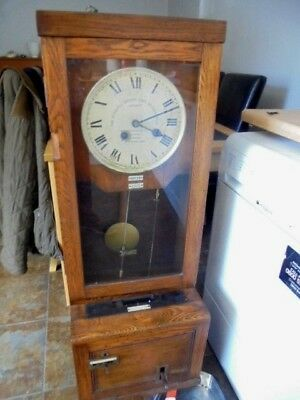 antique clocking in fusee wall clock or free standing