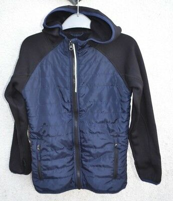 New * Crane Equestrian * Navy Blue And Black Hooded Jacket * Age 7 - 8