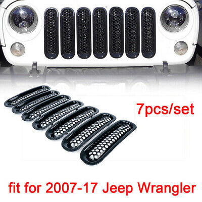 Fit for 07-17 Jeep Wrangler JK 7PCS Clip-in Front Insert Mesh Cover Grille Trim
