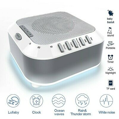 Sleep White Noise Machine with 5 Relaxing Sound and TF Card Slot Therapy for ...