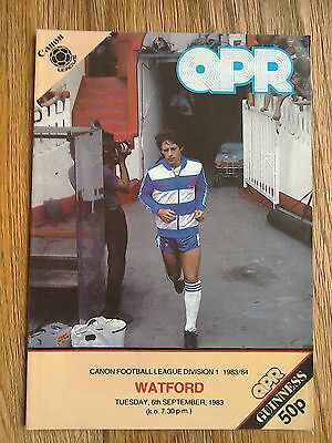 06/09/1983 QPR Vs Watford Football Match Programme