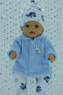 """Play n Wear Doll Clothes To Fit 17"""" Baby Born BLUE JACKET~TIGHTS~HAT"""