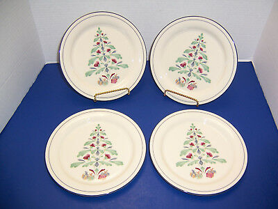 "USA Lenox Poppies on Blue 4 Christmas Salad Plates (8.25"") Poppytree Very Nice"