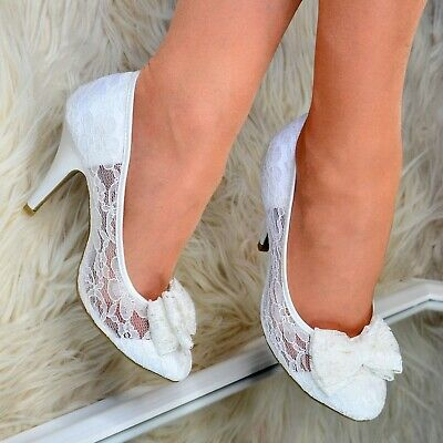 Ladies Bridal Lace Shoes Bow Womens Wedding High Heel Shoes Full toe Pumps Size