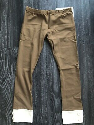 NWT!!! Persnickety Girls Brown Tab Button Leggings Size 8 Years