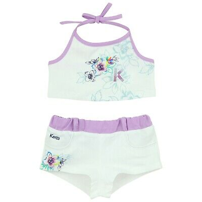 KENZO white and lilac beach outfit. Shorts and crop top  Size 4