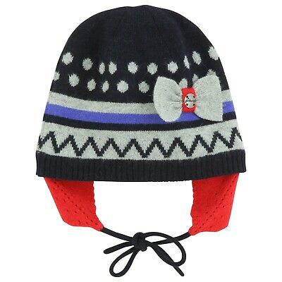 JEAN BOURGET Baby Girls Knitted hat in midnight blue, grey and red T2 (12-18m)