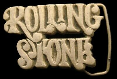 QK26132 VINTAGE 1970s CUT-OUT **ROLLING STONE** MAGAZINE SOLID BRASS BELT BUCKLE