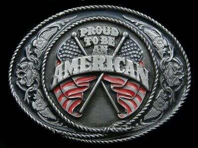 RK03116 *NOS* VINTAGE 1980s **PROUD TO BE AN AMERICAN** PATRIOTIC BELT BUCKLE