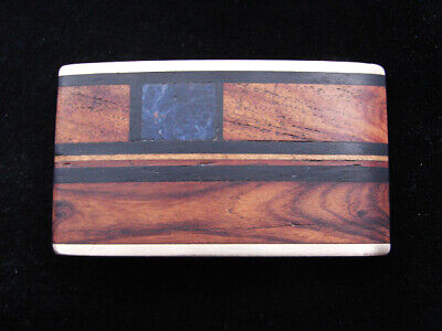 RD05163 VINTAGE 1970s KENNETH REID **INLAID WOOD BANDS** ART SOLID BRASS BUCKLE