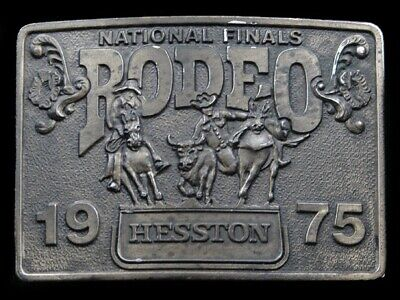 Ri13157 Vintage Nfr **1975 National Finals Rodeo** Hesston Collector Belt Buckle