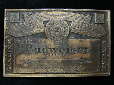 RC03101 VINTAGE 1970s **GENUINE BUDWEISER LAGER BEER** ADVERTISEMENT BELT BUCKLE