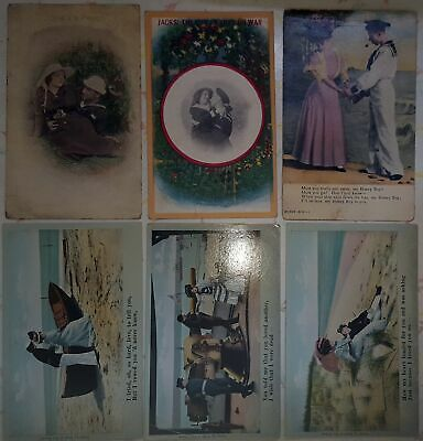 LOT OF 6~couples~love~romance~military~sailors~2 Bamforth~c1910