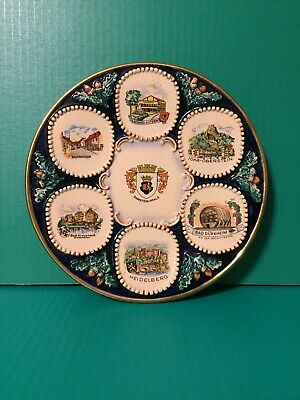 "Vintage West Germany handpainted ceramic collectible 9.5"" plate"