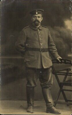 WWI German soldier standing studio portrait RPPC real photo ~ mustache goatee