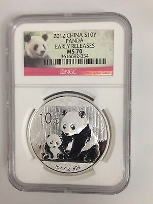 2012 China Panda 1 Oz. Silver Coin NGC MS70 Early Releases Red Panda Label T302