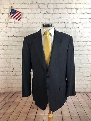 Brand New Men/'s 3 Button Pin Striped Suit Wool Feel All Year Around Wear 58021