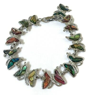 "7"" Purple Blue Green Abalone Paua Shell Butterfly Charm Chain Silver Bracelet"