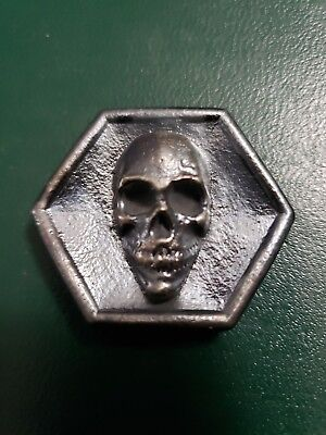 2.00 ozt Hand Poured .999 Silver Skull octagon coin.
