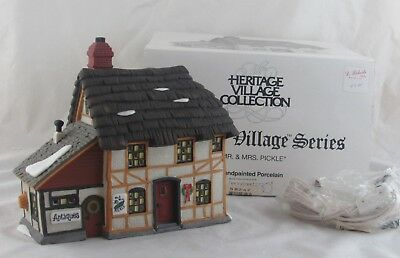 Dept 56 Dickens Village Mr & Mrs Pickle Cottage in Original Box with Light Cord