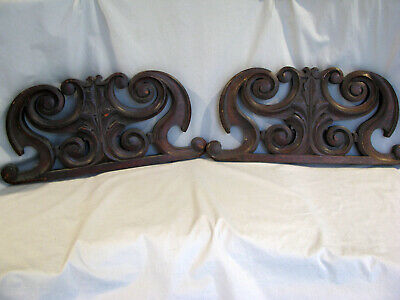 Pair of Antique CARVED WALNUT PEDIMENTS - ARCHITECTURAL ELEMENTS
