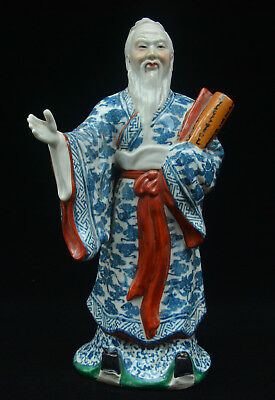 """16"""" Old China Blue White Porcelain Be Model For Others Confucius Teacher Statue"""