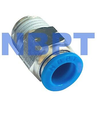 "Push To Connect 1/4 OD PC1/4"" Tube x 1/8"" NPT Male, 10 pcs"