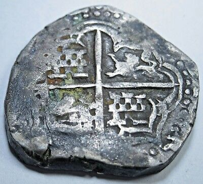 1600's Spanish Silver 4 Reales Piece of 8 Real Colonial Pirate Cob Treasure Coin