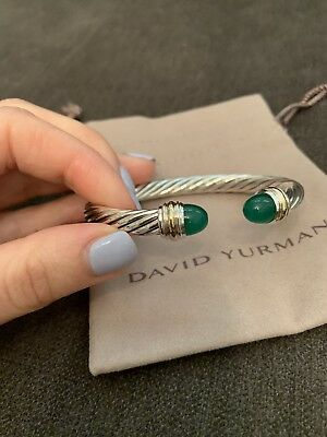 9e0e38319fa3b4 David Yurman Cable Classics Bracelet with Green Onyx and 14K Gold 7mm