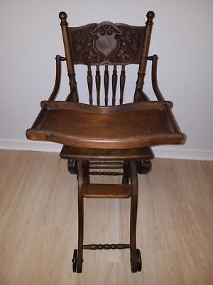 Antique Wicker Baby High Chair Rocker Stroller Oak Carved Cast Iron Wheels