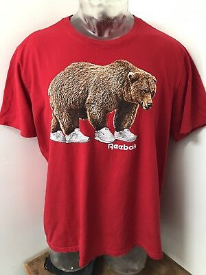 Men's Size 2XL XXL REEBOK Athletic T Shirt Hip Hop Style Bear Wearing Classics