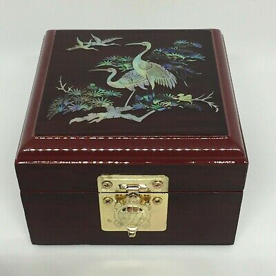 Lacquered Jewellery Trinket Box Red Brown Hinged MOP Inlay & Mirror Korea VGUC