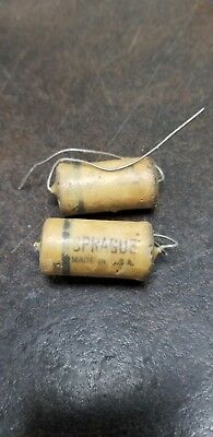 PAIR NOS Vintage Sprague .1 @ 600  Wax Capacitors