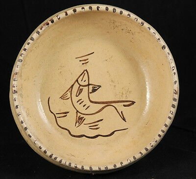 Antique/Vintage Mexican Ceramic Bowl Pottery Rustic Handmade Collectible Fish #2