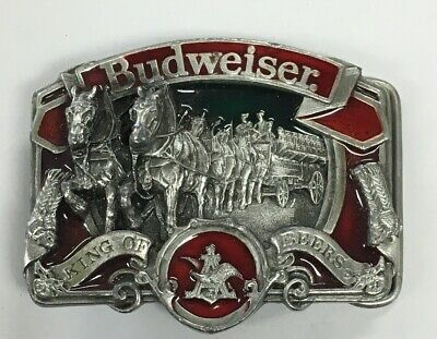 OFFICIAL BUDWEISER KING OF BEERS BELT BUCKLE 3-D Clydesdale Horses Enameled W42