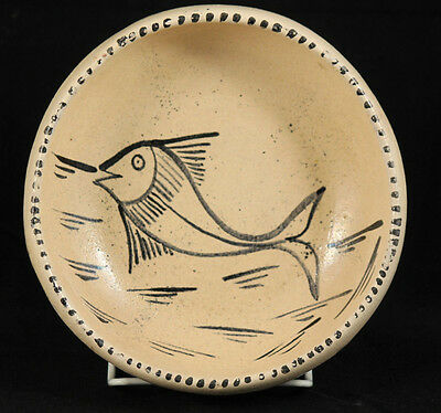 Antique/Vintage Mexican Ceramic Bowl Pottery Rustic Handmade Collectible Fish #1