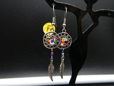 Vintage Alpaca Silver Dream Catcher Handmade Earrings,  Beautiful Beads