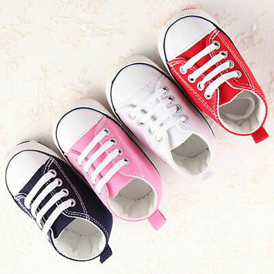 AU Newborn Baby Boy Girl Canvas Pram Shoes Kid Soft Prewalker Anti-crip Sneakers